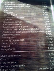 Carta de tostas una de las cafeterías más populares de Zafra