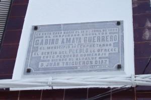 Placa en la casa de nacimiento de Gabino Amaya