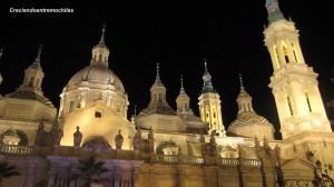 Perspectiva de la Basílica del Pilar de noche