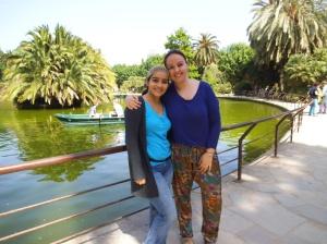 Con Diana durante su estancia en Barcelona